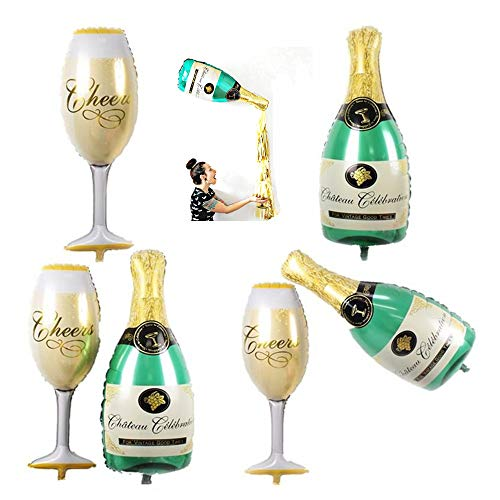 MOTZU 6 Stücke/3 Sets,Folienballon Luftballon, | Großer Champagner Sekt Glas Bierflasche Ballons |50 x 96cm | Überraschung für Geburtstag, Hochzeit,Party Deko Sektempfang Mitbringsel,Grün/Gold