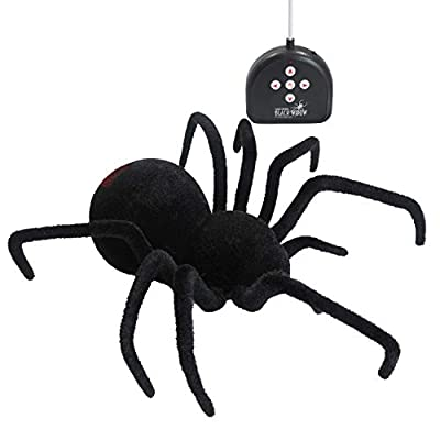 DJL Fun Realistic Remote Control Giant RC Black Widow Spider 4-Way Remote Control Toy