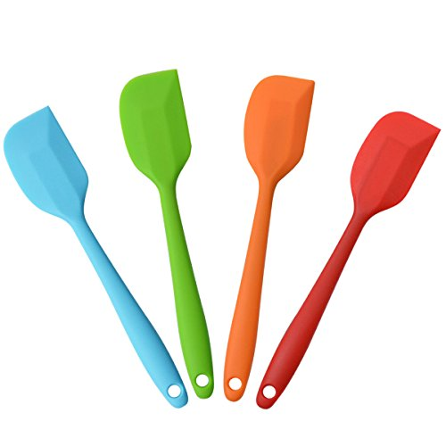 10' Silicone Spatulas Heat Resistant Non-Stick Flexible Rubber With Solid Stainless Steel Kitchen Essential Gadget Premium Scraper,4 Pack