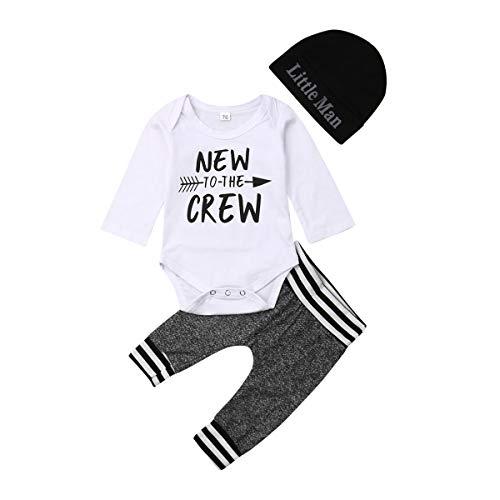 Geagodelia 3tlg Babykleidung Set Baby Jungen Langarm Body + Hose + Mütze Kleinkinder Neugeborene Weiche Warme Baumwolle Babyset Bekleidung (3-6 Monate, New to The Crew (Weiß + Grau))