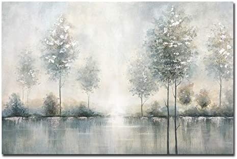 AMEI Art Paintings 24x36Inch 100 Hand Painted Misty Forest Oil Painting on Canvas Lake Scenery product image