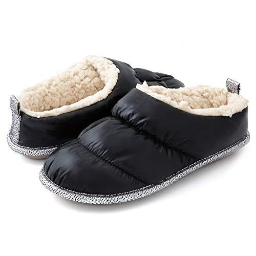 RockDove Women's Down Puff Memory Foam Clog Slipper with Sherpa Lining, Size 7-8 US Women, Black