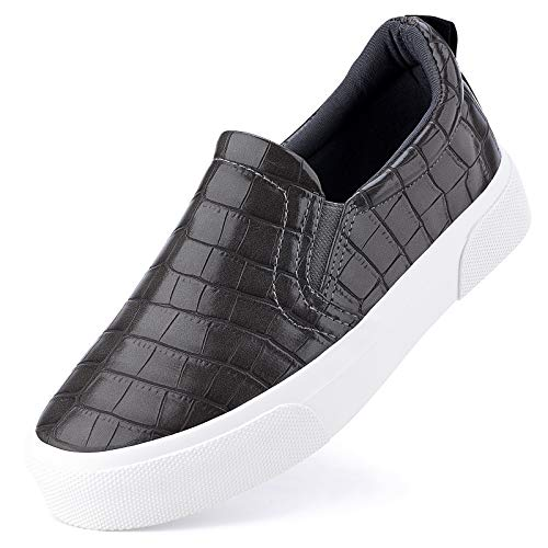 JENN ARDOR Women's Slip On Sneakers Perforated/Quilted Casual Shoes Fashion Comfortable Walking Flats Stone Grey