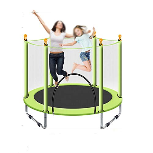 HYM Outdoor Children's Trampoline, Trampoline for Adults and Children 4.5FT With Safety Nets, Indoor Or Outdoor Exercise Children's Entertainment Activities(Color:green)