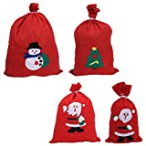 Cabilock 4 Pezzi di Natale Sacchi di Babbo Natale Sacchetti di Tela con Coulisse Regalo Grande Sacco Regalo Buon Natale Sacchetto Regalo Natale Camino Arredamento per Feste di Natale
