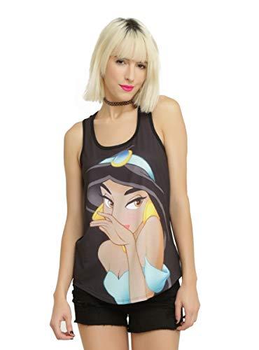 Disney Aladdin Jasmine Coy Face Girls Tank Top Black
