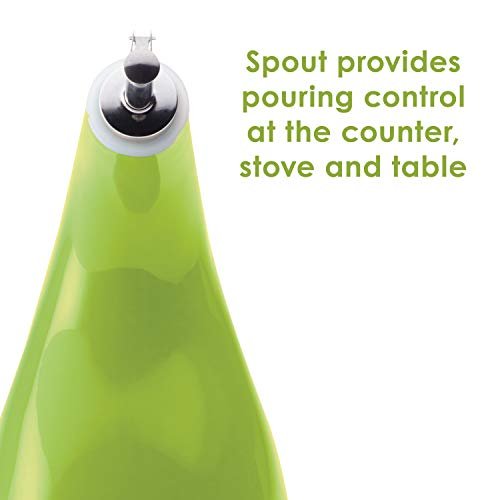 Rachael Ray Solid Glaze Ceramics EVOO Olive Oil Bottle Dispenser with Spout - 24 Ounce, Green