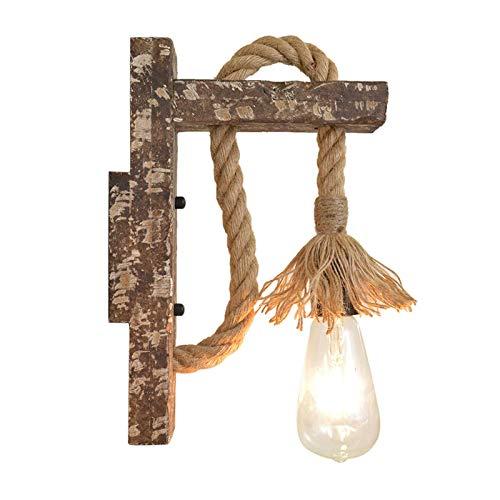 ZHHZ Aplique Industrial Vintage de Madera Clara con Cuerda de cáñamo, lámpara de Pared para Loft, lámpara de Pared E27, Aplique para Dormitorio, Pasillo, Pasillo, Restaurante, cafetería (C)