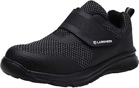 LARNMERN Zapatos de Seguridad Hombres LM180121 SBP Zapatillas de Trabajo con Punta de Acero Ultra Liviano Reflectivo Transpirable(43 EU,Triple Negro)