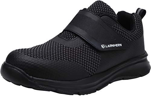 Zapatillas de Seguridad Hombre,LM180121 SBP Zapatos de Trabajo Mujer con Punta de Acero Ultra Liviano Reflectivo Transpirable 43 EU,Triple Negro