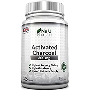 Activated Charcoal 300mg 365 Capsules (not tablets) | One Year Supply of Triple Strength Activated Charcoal by Nu U Nutrition:Superclub