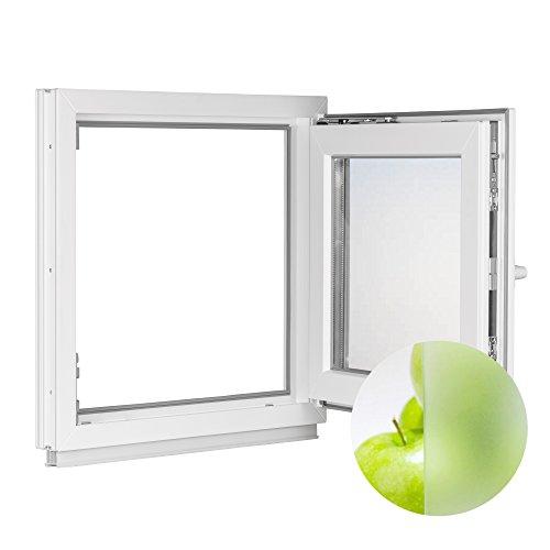 Fenster Kunststofffenster weiß - BxH 62x95 cm - 2 fach Verglasung - Satinato - Dreh-Kipp - Premium (DIN Rechts)