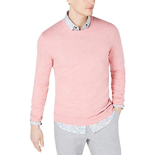 Tasso Elba Men's Cotton Blend Lightweight Crewneck Sweater Pink Size L