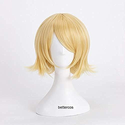 Pelucas de Cosplay de Vocaloid Kagamine Rin, peluca de pelo sinttico resistente al calor rubio corto + gorro de peluca