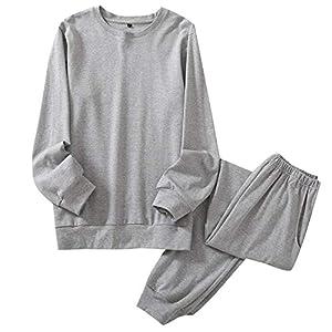 GreatCall パジャマ 綿100% ゆったり スウェット 長袖&長ズボン 上下セット ポケット付き 寝間着 ふんわり 吸汗 通気 シンプル 肌に優しい ルームウェア 部屋着 通年用 (L, グレー)