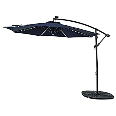 FLAME&SHADE 10' LED Light Cantilever Offset Umbrella, Hanging Patio Umbrella with Solar Panel, Crank Lift, Large Round, Navy Blue