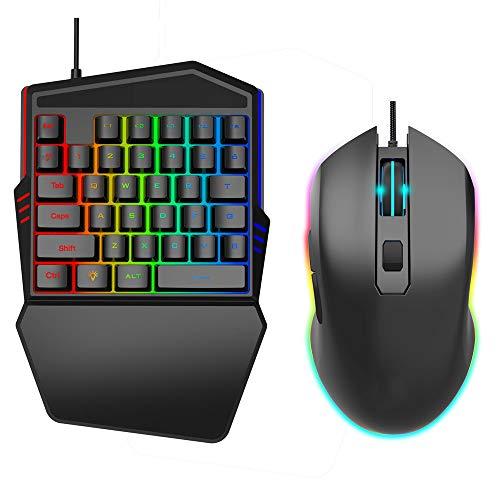 SCKL Singolo Gaming-keyboard, met 35 toetsen voor Dell Rainbow led-achtergrondverlichting, één hand, mini toetsenbord, met gaming-muis en handsteun voor laptop