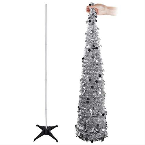 Kerstmis concepten Draagbare kerstboom draad pailletten Pop-up Kunstmatige Boom Lichtgewicht Stabiel Statief Ondersteuning Kerstmis Nieuwjaar Home Decoratie Kunstmatige Bomen