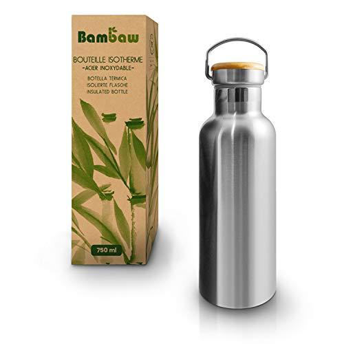 Bambaw Gourde INOX 750 ML | Bouteille Thermos | Bouteille Isotherme | Gourde écologique | Gourde réutilisable | Gourde Acier Inoxydable sans Plastique | Maintient Chaud et Froid Bouteille Bambou (750)
