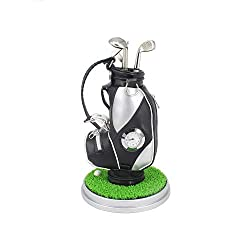 HKOO Golf Gift Christmas gift Golf Pens Holder, Golf Bag Holder with 3 Pieces Aluminum Pen Golf Bag Pencil Holder for Fathers Day,Golf Souvenirs Gifts for Golfer Fans Coworker (Silver and Black/C)