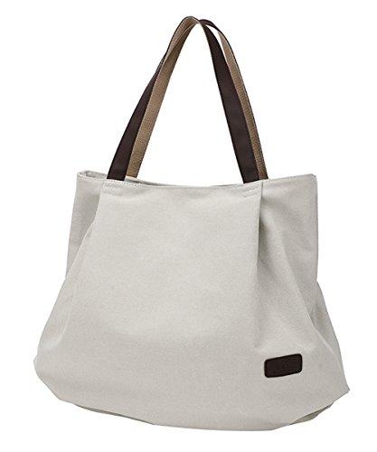 PB-SOAR Damen XXL Vintage Canvas Shopper Schultertasche Handtasche Beuteltasche Freizeittasche (Milchweiß)