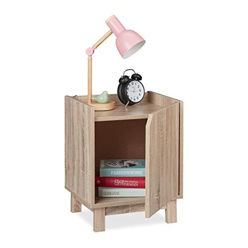 Relaxdays Nachttisch mit Tür, HxBxT: 50x40x35 cm, Beistelltisch Wohn- & Schlafzimmer, mit Rand, Spanplatte, Holzoptik