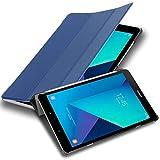 Cadorabo Funda Tableta para Samsung Galaxy Tab S3 (9.7' Zoll) SM-T820N / T825N in Azul Oscuro Jersey – Cubierta Proteccíon Bien Fina en Cuero Artificial en Estilo Libro con Auto Wake Up