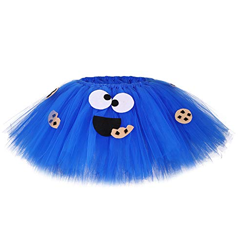 JJAIR Blau Oreo Kekse Kostüm für Mädchen, Layered Tüll Tutu Prinzessin Kleid Requisiten Kostüme,70