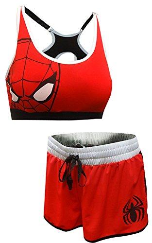 Marvel Women's Avengers Spiderman Bra and Boxer Pajama Set (Large) Charcoal