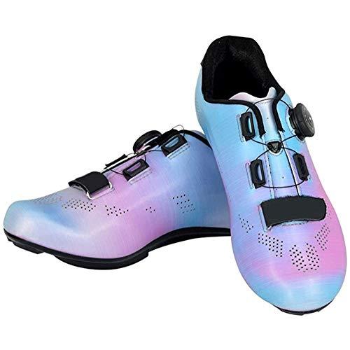 JINFAN Zapato De Bicicleta De Carretera para Mujer,Diseño De Zapato Transpirable Reflectante Giratorio Taco De Calzado De Carretera MTB para Ciclismo Senderismo,Blue-EU36