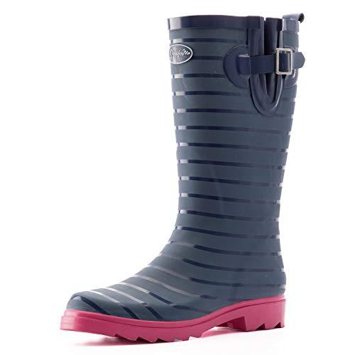K KomForme - Botas de lluvia para mujer, impermeables, para uso al aire libre, con cómoda plantilla, Rayado, 10