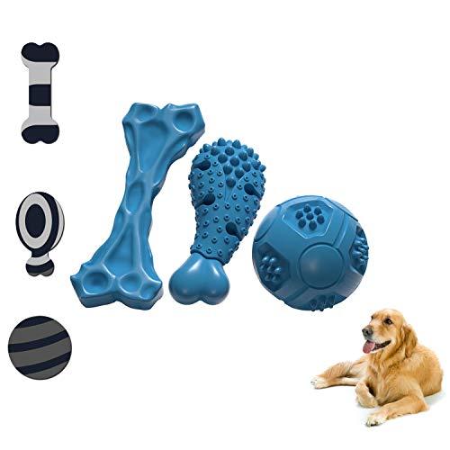 LAIKA Hundespielzeug Kauspielzeug Hund Spielball Set mit Zahnpflege-Funktion Noppen, aus Naturkautschuk Robuster in Blau für Große & Mittelgroße Hunde