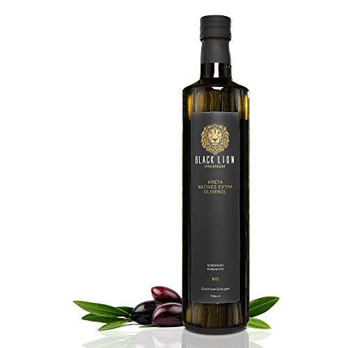 Kreta Premium BIO natives extra Olivenöl Black Lion Kaltgepresst | mild, fruchtig - lecker | 100{bb88bddde49f4577a9787bc193a62e909e8fd5b885dd3d5c21e5cbc2fd245043} rein aus der Koroneiki - Olive | 750ml Glas-Flasche