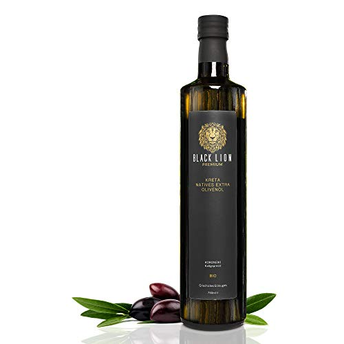 Kreta Premium BIO natives extra Olivenöl Black Lion Kaltgepresst | mild, fruchtig - lecker | 100{2b39bf6fff53e51cca7773dbcec96d83b9038f6940269140964431d01f8dfb10} rein aus der Koroneiki - Olive | 750ml Glas-Flasche