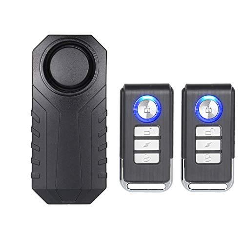 Mengshen Alarma Inalámbrica para Motocicleta, Alarma De Sensor De Seguridad Antirrobo Impermeable con Sonido Súper Alto De 113dB, Sensibilidad De 7 Niveles (2 Controles Remotos Incluidos)