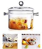 Glass Cooking Pot - 1.5L/50oz Heat-Resistant Borosilicate Glass Handmade Cookware Set stovetop Pot - Safe for Pasta Noodle, Soup, Milk, Tea