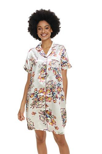 Alcea Rosea - Camisón de manga larga para mujer, con botones Jardín blanco. L