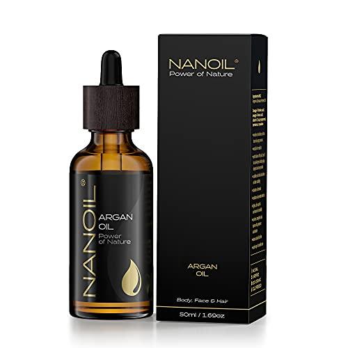 Nanoil Arganöl – natürliches, reines, kaltgepresstes, ungeröstetes Bio Arganöl. Pflegeöl für Haar, Körper und Gesicht, 50 ml. Naturpflege, Regeneration, Hitzeschutz und Anti-Aging