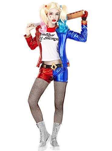 Funidelia | Disfraz de Harley Quinn - Escuadrn Suicida Oficial para Mujer Talla L Superhroes, DC Comics, Suicide Squad, Villanos - Color: Azul - Licencia: 100% Oficial