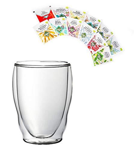 Feelino BIO-Teeset: 1x 460ML XXL Wellenglas + 12x BIO-Tee, doppelwandiges Thermoglas in Wellenform + 12x verschiedene BIO Teebeutel