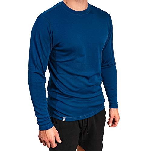 Alpin Loacker Merino Shirt Langarm 230g/m | 100% Merinowolle Sweatshirt Herren | wärmeregulierendes Langarmshirt für Männer Sport & Freizeit | Größenwahl (Blau, M)