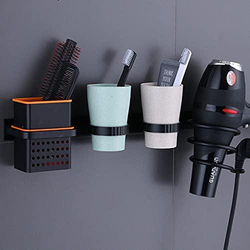 Soporte de pared para secador de pelo para secador de pelo y plancha de pelo, adecuado para baño y baño (actualización)