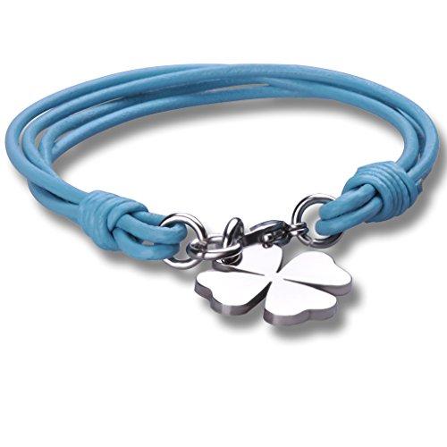 Stayoung Jewellery Moda Unisex Acero Inoxidable Cuero Trenzado Pulsera Brazalete Trébol de Cuatro Hojas, Azul
