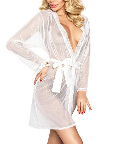 DKaren Damen Nachtwäsche sexy Negligee - Kimono Morgenmantel Kurz Transparent Satin für Frauen Aisha (S, Ekri)