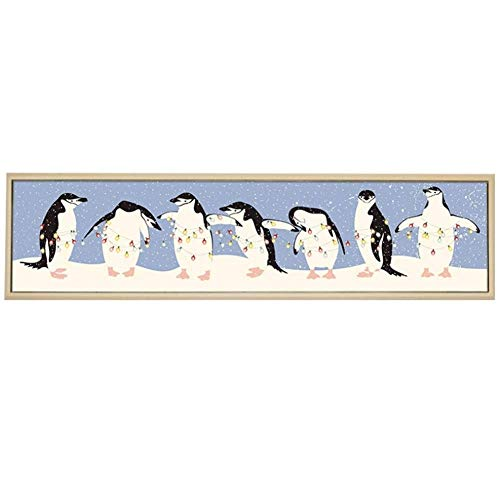 wzgsffs Einfache Cartoon Pinguin Laterne Schneeflocke Leinwand Malerei Nordic Kinderzimmer Bedside Dekorative Malerei-16x48 ZollNo Framed
