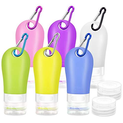 Gifort Silikon Reiseflaschen Set, 6 Stück 60ml und Wiederverwendbar, Reisebehälter für Shampoo Flüssigkeiten