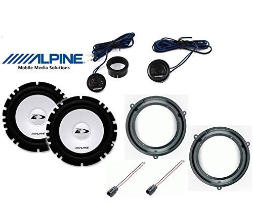 Kit de 4 altavoces para Fiat Panda de 2003 a 2012 con adaptadores y soportes para altavoces Alpine predisposición delantera