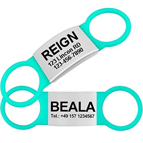 TagME 2 Paquete Etiquetas de Identificación de Acero Inoxidable Para Perros y Gatos / Placa de Identificación Silenciosa Grabada con Nombre y Número de Teléfono, Turquesa, L