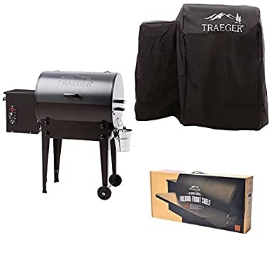 Traeger Grills Tailgater 20 Portable Wood Pellet Grill and Smoker (Blue), with Full Length Grill Cover and Folding Front Shelf