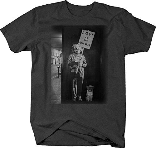 Retro Albert Einstein Love is The Answer Pug Graffiti Art T Shirt for Men Large Graphite